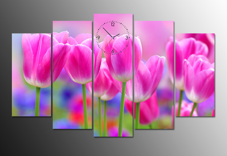 tranh dong ho hoa tulip dep